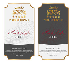 Set of Wine Label Five Stars