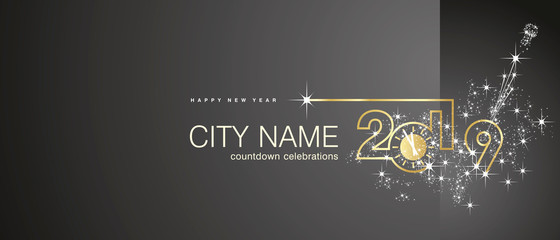 New Year 2019 gold clock firework midnight countdown celebrations black background