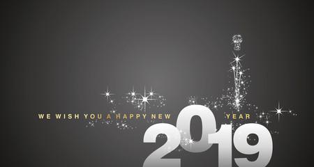 We wish you a Happy New Year 2019 gold silver black greeting card