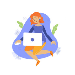 girl sitting with laptop working at home flat style illustration