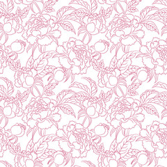 peony seamless pattern. Floral vintage background