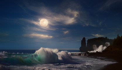 Beautiful moonlight seascape with ocean waves crushing on rocky coast