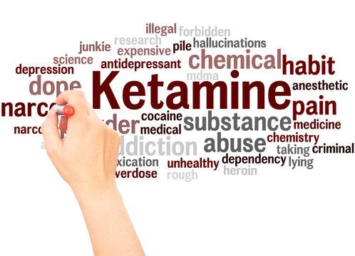 Ketamine word cloud hand writing concept