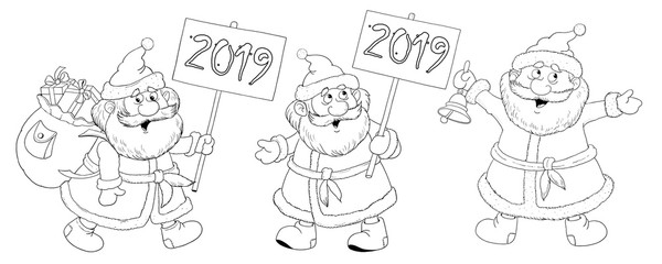 Christmas. New Year 2019. Year of Pig. Greeting card. Cute and funny cartoon characters