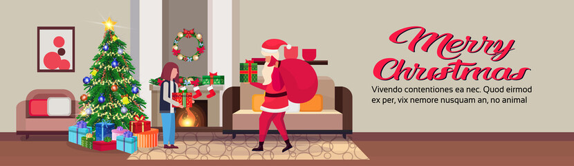 santa claus hold present for girl in living room decorated christmas happy new year pine tree fireplace home interior winter holiday concept flat horizontal copy space vector illustration