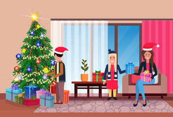 family decorate pine tree merry christmas happy new year living room home interior decoration winter holiday concept flat horizontal
