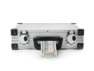 Funny hard case and money on white background