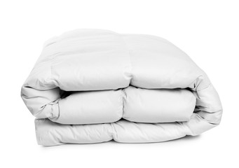 Folded clean blanket on white background. Household textile