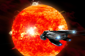 A spaceship explores a new red star as it erupts and ejects matter into outer space