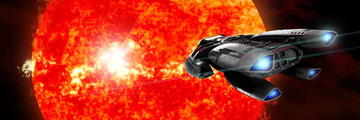 A spaceship explores a new red star as it erupts and ejects matter into outer space in a panoramic view