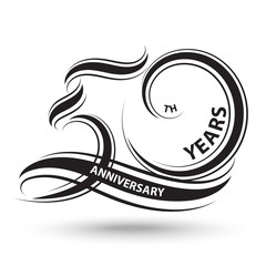 black 50th anniversary sign and logo for celebration symbol