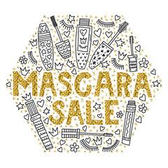 Mascara sale. Poster vector illustration