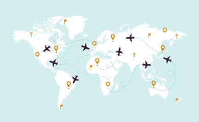 World map plane tracks. Aviation track path on world map, airplane route line and travel routes vector illustration Wall mural