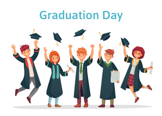 Graduate students. Graduation day of university student, success exam and college group throwing up academic caps vector illustration