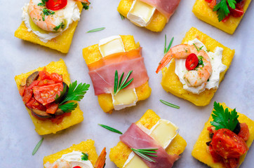 Polenta Bites with Different Toppings, Variety of Polenta Appetizers, Delicious Snack