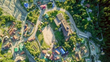 Mountain village. Flight in the mountains. Dombayskaya Polyana, Karachaevo-Cherkessia, the Northern Caucasus. Russia