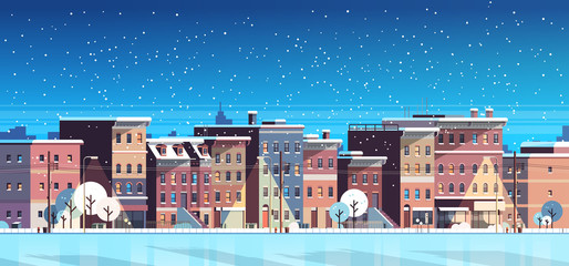 city building houses night winter street cityscape background merry christmas happy new year concept flat horizontal banner flat
