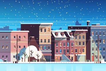 city building houses night winter street cityscape background merry christmas happy new year concept flat horizontal flat