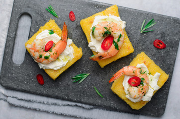 Polenta Bites with Shrimp and Cream Cheese, Polenta Appetizer, Delicious Snack
