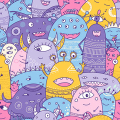 cute monsters crowd seamless pattern in boho style.