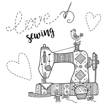 Vector card with sewing machine and lettering.