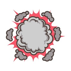 Small red explosion with clouds isolated vector illustration on white background.