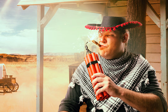 Cowboy lights a cigar from a stick of dynamite