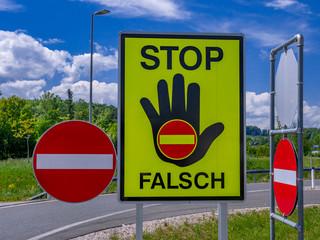 traffic sign stop, false direction, Austria