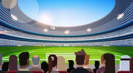 empty football stadium field silhouettes of fans waiting match rear view flat horizontal