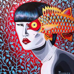 dipinto bella donna orientale con pesce dorato