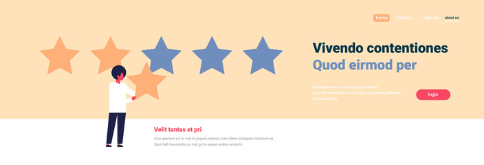 three star rating man giving feedback concept african american character flat banner copy space