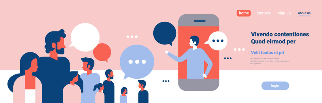 people chat bubbles mobile application communication speech dialogue man woman character background portrait copy space banner flat
