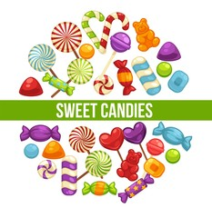 Candies and caramel sweets poster for confectionery or candy shop.
