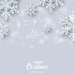 Merry Christmas greeting card with falling white snowflakes. Vector.