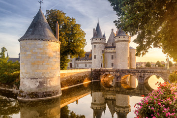 Castle or chateau of Sully-sur-Loire at sunset, France