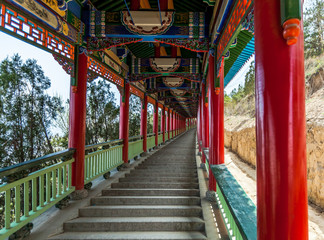 Traditional ornaments decorate that adorn the path to the top of the mountain, Lanzhou, China.