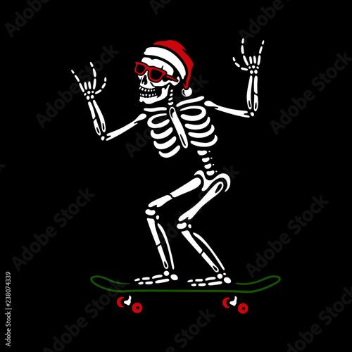 Christmas Skeleton.Christmas Skeleton On Skateboard Stock Image And Royalty
