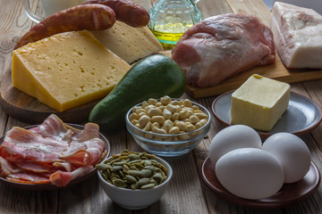 Ketogenic diet food. Balanced low-carb food background.  Clouse up. Soft focus.