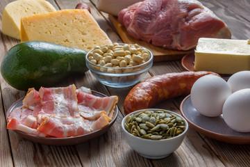 Keto diet food ingredients. Balanced low-carb food. Clouse up. Soft focus.