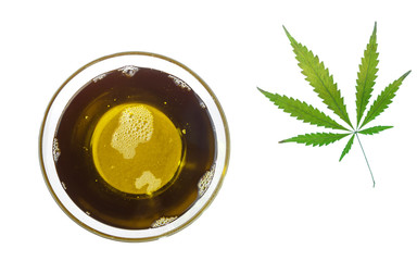Hemp oil in a glass bowl and cannabis leaf. Isolated on a white background.