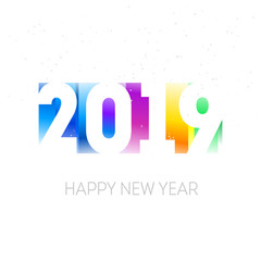 Happy new year, 2019. Greeting card or calendar cover design template with gradients. Cover of business diary for 2019 with wishes. Vector.