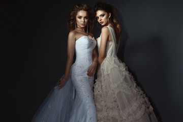 Two beautiful brides with perfect make up and hairstyle wearing luxurious wedding dresses and splendid earrings. Isolated on dark grey background. Studio shot.