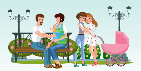 Cartoon happy homosexual couples together in park