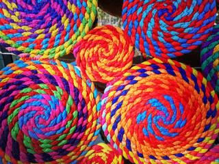 Colorful circular shapes and colorful carpet