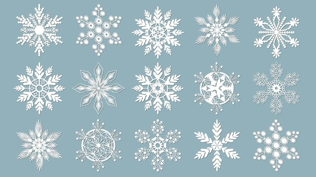 Set of snowflakes. Laser cut pattern for christmas paper cards, design elements, scrapbooking. Vector illustration.