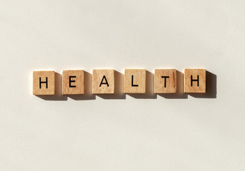 Health spelled out in letter tiles flat lay