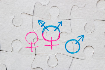 transgender symbol, female and male gender symbol drawn on the puzzle concept of equality