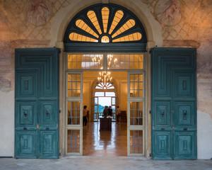 Entrance door of an ancient Italian Renaissance villa.