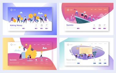 Teamwork Business Work Success Landing Page Set. Motivation Marketing Management Leader Character Concept for Website or Web Page. Flat Cartoon Vector Illustration