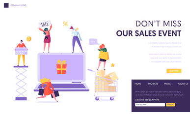 Online Store Sale Landing Page Template. Woman Shop Online Using Laptop. E-commerce, Consumerism, Retail Concept. Characters Shopping Purchase for Website or Web Page. Flat Cartoon Vector Illustration